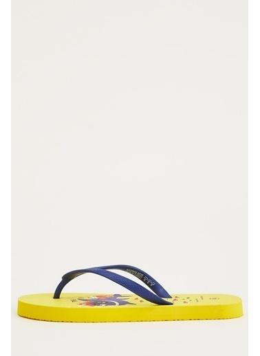 DeFacto Erkek Çocuk Köpek Balığı Desenli Parmak Arası Terlik Sarı